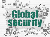 Safety concept: Global Security on wall background — Stock Photo