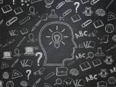 Learning concept: Head With Lightbulb on School Board background — Stock Photo
