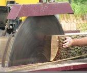 A large dangerous looking circular saw cutting wood — Stock Photo