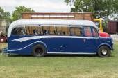 An old fashioned blue luxury coach — Stock Photo