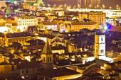 Cidade histórica de vista aérea noite de sibenik — Foto Stock