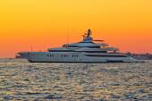 Superyacht on yellow sunset view — Stock Photo