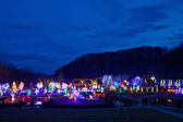 Village in Christmas lights blue hour view — Stock Photo