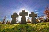 Graveyard three crosses silhouette view — Foto de Stock