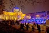 Zagreb christmas ice park evening view — Stock Photo