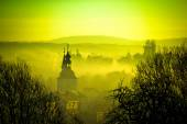 Golden dawn in easter european town of Krizevci — Photo