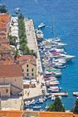 Hvar yachtin harbor aerial view — Stock Photo