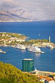 Split harbor and Biokovo mountain view — Stock Photo