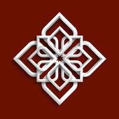 White 3d ornament in arabic style — Stock Vector