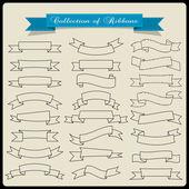Black contours vintage ribbons — Stock Vector