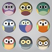 Set of app icons-  cute owls — 图库矢量图片