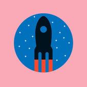 Retro cartoon rocket icon — Stock Vector