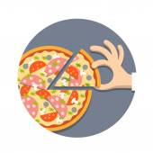 Pizza with hand in cartoon style — Stock Vector