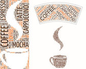 Coffee cup made of words — Stock Vector