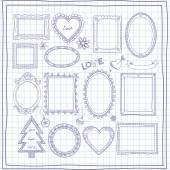 Doodle πλαίσια — Διανυσματικό Αρχείο