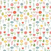 Seamless pattern made of doodle flowers. — Wektor stockowy
