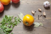 Tomatoes, herbs and spices. — Stock Photo