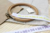 Sewing and ambroidery craft kit, embroidery and other tools, selective focus — Stock Photo