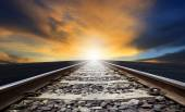 Perspective of rail way against beautiful dusky sky use for land — Стоковое фото