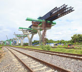 Railways and sky train structure construction use for government — Stock Photo