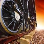 Iron wheels of stream engine locomotive train on railways track — Stock Photo #52781707