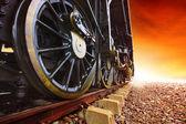 Eisen Räder Stream Motor Lokomotive Zug auf Eisenbahnen verfolgen — Stockfoto