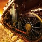Iron wheels of stream engine locomotive train on railways track — Stock Photo #52889481