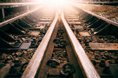 Junction of railways track use for trains transport and land transportation industry — Foto Stock