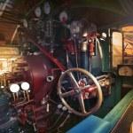 Inside control room of stream engine locomotive train parking on — Stock Photo #53078027