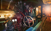 Inside control room of stream engine locomotive train parking on — Stock Photo
