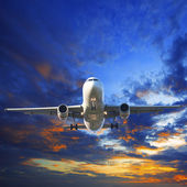 Passenger jet plane preparing to landing against beautiful dusky — Stock Photo