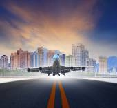 Jet plane take off from urban airport runways use for air transp — Photo