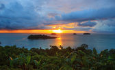 Sun set and beautiful dusky sky at Koh Chang Island view point t — Stock Photo