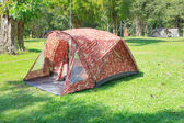 Camping tent on green grass field of forest national park — Stock Photo