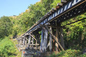 Old wood structure of dead railways bridge importand landmark an — Stock Photo