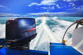 Rear view from speed boats running against clear sea blue water  — Stock Photo