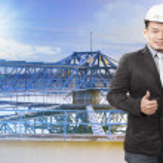 Environmental engineering man standing in front of waterworks in — Stock Photo #60873793