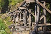 Old wood structure of dead railways bridge important landmark an — Stock Photo