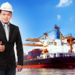 Business man and comercial ship with container on port use for i — Stock Photo #61209141
