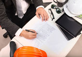 Top view of architect working table with drawing perspective bui — Stock Photo