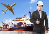 Working man and commercial ship on port and air cargo plane flyi — Stock Photo