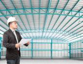 Inside of structure empty warehouse use for industry background — Stock Photo