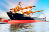 Commercial ship loading container in shipping port image use for — Stock Photo