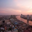 Top view bangkok urban view and curve of chaophraya river and sky scrapper in beautiful sun set time — Stock Photo #69358531