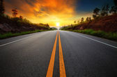 Beautiful sun rising sky with asphalt highways road in rural sce — Stock Photo