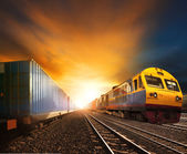 Industry container trainst running on railways track against bea — Stock Photo