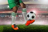 Soccer football players on field in sport stadium — Stock Photo