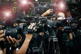 Press and media camera ,video photographer on duty in public new — Stock Photo