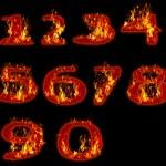Fire burning on arabic number zero to nine use for multipurpose — Stock Photo #78804688