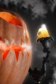 Smoggy Halloween Gourd and Candle — Stock Photo